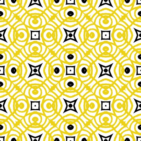 artdeco: Vector geometric art deco pattern in yellow and black. Luxury texture for print, website background, holiday decor in 1930 style, Christmas wrapping paper, fall winter fashion. textile, fabric Illustration