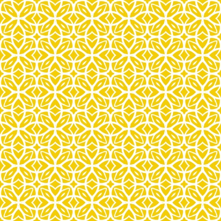 Vector geometric art deco pattern with lacing shapes in yellow and white. Luxury texture for print, website background, decor in 1930 style, wrapping paper, spring summer fashion. textile, fabric Vettoriali