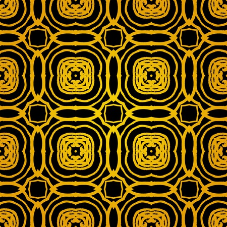 architectural styles: Vector geometric art deco pattern with gold shapes on black. Luxury texture for print, website background, holiday decor in 1930s style, Christmas wrapping paper, fall winter fashion. textile, fabric Illustration