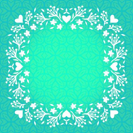 zomertuin: Vector illustratie van bloemen frame met kleine bloemen, takken en harten. Sjabloon met veer decor voor bruiloft uitnodiging, verjaardagskaart, zomertuin partij, bloemen winkel gift card, zeep pakket