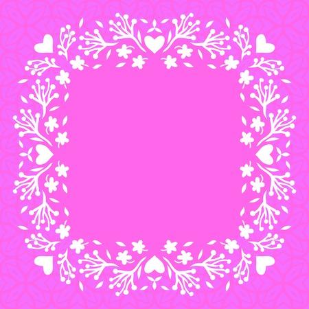 zomertuin: Vector afbeelding van bloemen frame met kleine bloemen, takken en harten. Sjabloon met veer decor voor bruiloft uitnodiging, verjaardagskaart, zomertuin partij, bloemen winkel gift card, zeep pakket