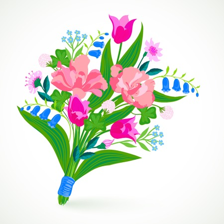 Vector illustration of a bouquet of spring and summer flowers: tulips, peony, blue bells, clover and forget-me-nots tie is made in modern flat style and is perfect for a wedding invitation Vector