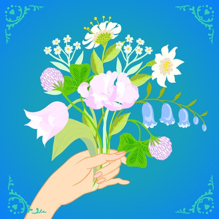 Vector illustration of a hand holding a bouquet of spring and summer flowers: tulips, peony, blue bells, clover and daisies is made in modern flat style and is perfect for a wedding invitation Vector