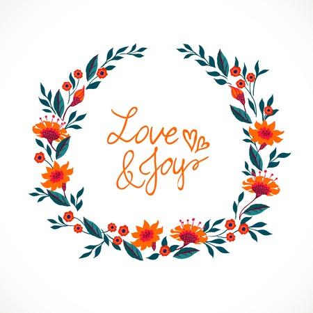 Vector afbeelding van een krans van de lente en de zomer bloemen: pioenen, papavers en madeliefjes wordt gemaakt in moderne vlakke stijl en is perfect voor een bruiloft uitnodiging kaart, met de woorden liefde en vreugde