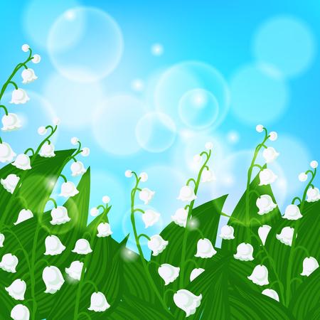 shining light: Vector del fondo del resorte con el campo de flores de lirio de los valles en que brilla la luz del cielo azul bokeh. Ilustraci�n para la tarjeta, postal del D�a de la madre, invitaci�n de la boda, paquete de jab�n, primavera venta de cupones. Vectores
