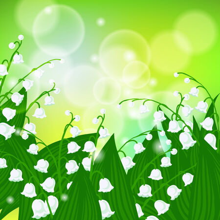 Vector spring background with field of lily-of-the-valley flowers on shining light green bokeh. Illustration for card, mother's day postcard, wedding invitation, soap package, spring sale coupon.