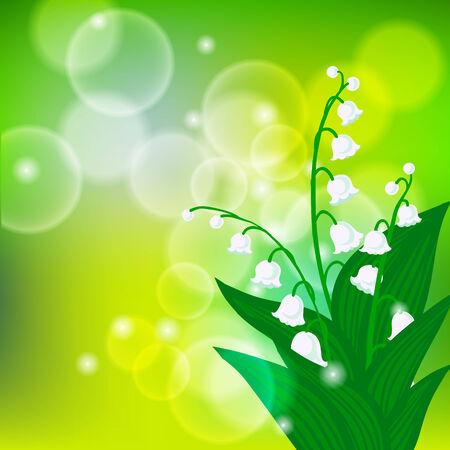 shining light: Vector del fondo del resorte con el ramo de flores lirio de los valles en la luz brillante del bokeh verde. Ilustraci�n para la tarjeta, postal del D�a de la madre, invitaci�n de la boda, paquete de jab�n, primavera venta de cupones.
