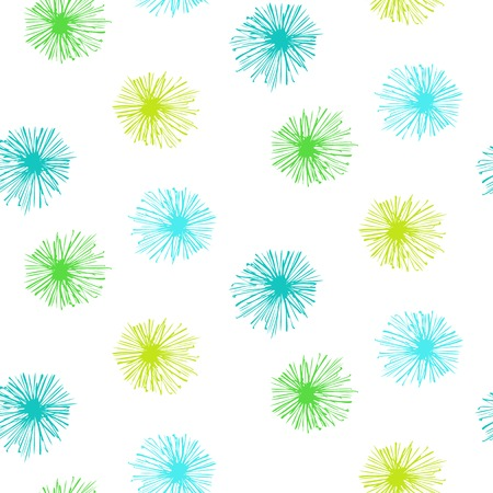 Vector seamless pattern with small furry flowers or pompoms in variety of bright green and blue colors can be used for web, print, wallpaper, spring summer fashion, fabric, textile, card background.