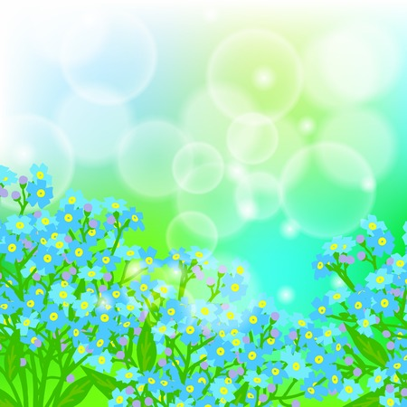 Vector floral spring background with drawings of a field of small blue flowers known as forget-me-nots or Jack Frost flowers on sun lighted blurry bokeh for Mothers day card or wedding invitation Vector
