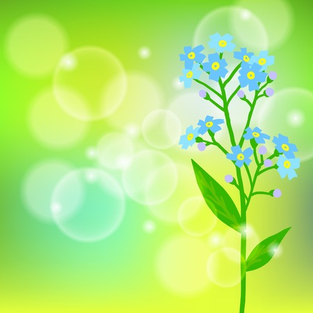 Vector floral spring background with drawings of a single small blue flower known as forget-me-not or Jack Frost flower can be used for Mothers day card, wedding invitation, or seasonal sale coupon Vector