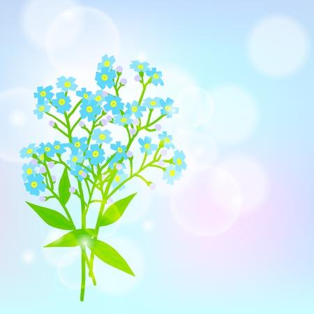 jack frost: Vector floral de fondo de primavera con dibujos de un ramo de peque�as flores azules conocidos como Forget-me-no tienen ni flores Jack Frost en el sol ilumin� bokeh borrosa por la tarjeta del d�a de la madre o de la invitaci�n de la boda