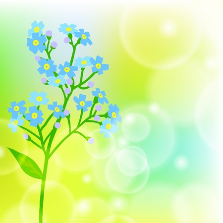 jack frost: Vector floral de fondo de primavera con dibujos de una sola peque�a flor azul conocido como forget-me-not o flor Jack Frost se puede utilizar para para la tarjeta del d�a de madre, invitaci�n de boda, o de temporada venta anuncio Vectores