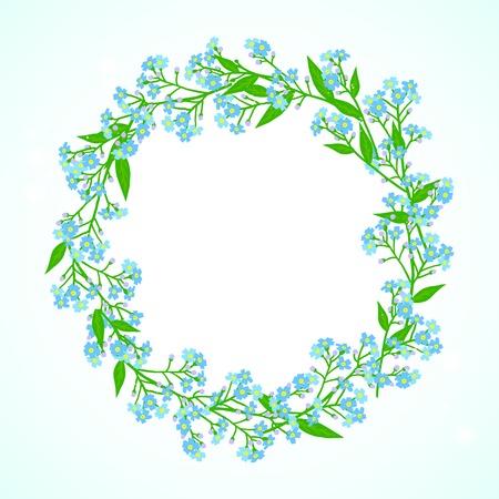 jack frost: Vector floral de fondo de primavera con dibujos de una corona de peque�as flores azules conocidos como Forget-me-no tienen ni flores Jack Frost se puede utilizar para la tarjeta del d�a de la Madre, invitaci�n de la boda o de temporada venta anuncio
