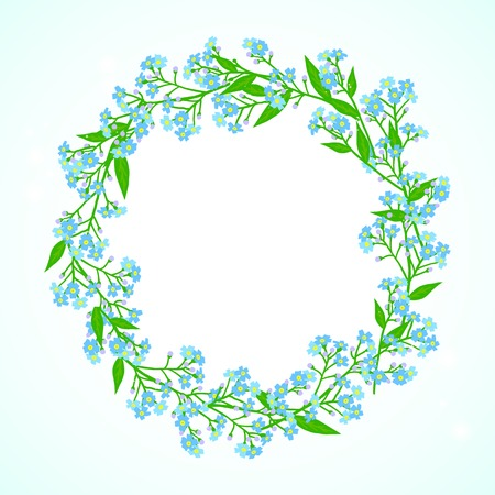 Vector floral spring background with drawings of a wreath of small blue flowers known as forget-me-nots or Jack Frost flowers can be used for Mothers day card, wedding invitation or seasonal sale ad Vector