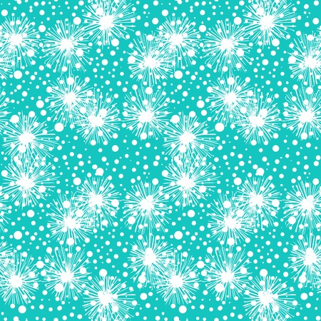 Vector seamless pattern with small furry flowers or pompoms or snowflakes in aqua blue and white colors can be used for web, print, wallpaper, fall winter fashion, fabric, textile, card background. Vector
