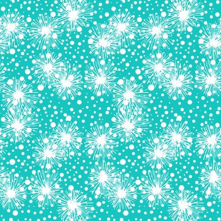 wintermode: Vektor nahtlose Muster mit Blumen oder kleinen pelzigen Pompons oder Schneeflocken in aqua blauen und wei�en Farben k�nnen f�r Web, Print, Wallpaper, fallen Wintermode, Stoff-, Textil-, Karten-Hintergrund verwendet werden. Illustration
