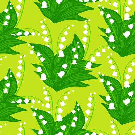 Vintage vector floral pattern with small bouquets of lily-of-the-valley flowers. Vector