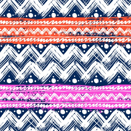 Vector seamless ethnic pattern hand painted with bold zigzag brushstrokes and stripes in bright colors can be used for print, wallpaper, fall winter fashion, fabric, textile, Christmas wrapping paper Vector