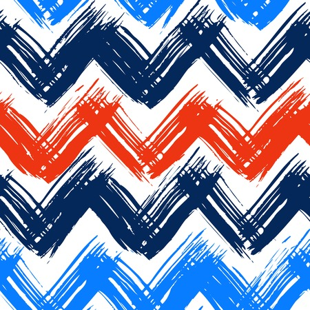 Vector seamless chevron pattern hand painted with bold brushstrokes in bright nautical colors Vector