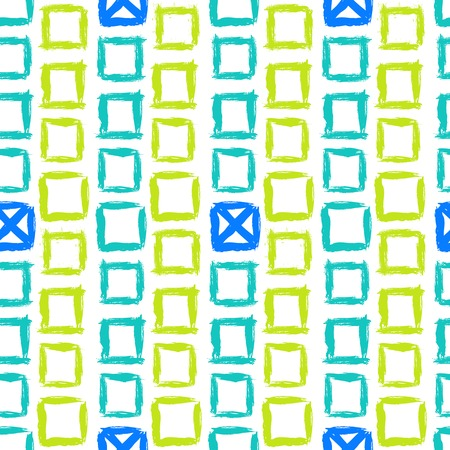 be green: Vector geometric pattern with small hand painted squares placed in zigzag lines in bright white, green and blue can be used for print, spring summer fashion, textile, fabric, wallpaper, wrapping paper
