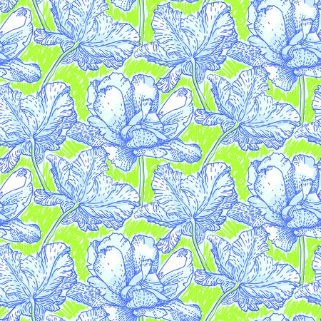 Vintage vector pattern with field of peony flowers on bright green background. Seamless texture for print, wallpaper, spring summer fashion, textile, fabric, soap package, wedding invitation card Vector