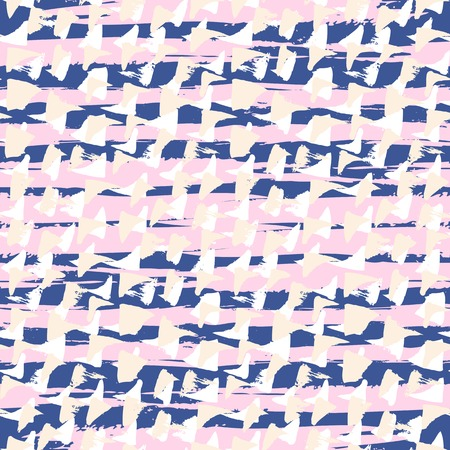 90s: Ditsy pattern with short hand drawn strokes, wide wild horizontal brush strokes and small triangles in multiple pastel colors: white, navy blue, soft pink and organic beige
