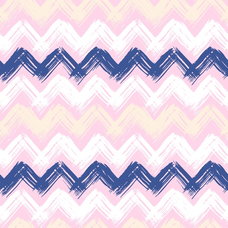 hand print: seamless chevron pattern hand painted with bold brushstrokes in multiple pastel colors Illustration