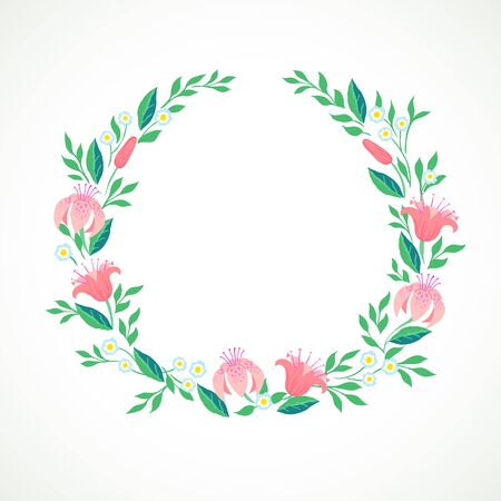 Vector illustration of a wreath of spring and summer flowers: Lilies and forget me nots and is perfect for a wedding invitation card, web banner of spring promotion sale, soap package, thank you note
