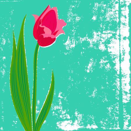 spring: Vector card with red tulip on textured background. Template for Easter promotion, flower shop gift card, thank you note, spring sale coupon or wedding invitation Illustration