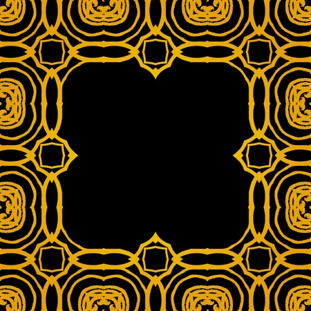 Vector geometric art deco frame with gold shapes on black. Template for luxury wedding invitation, card, postcard, jazz festival poster or ticket, sale coupon, restaurant promotional card. Stock fotó - 27733782