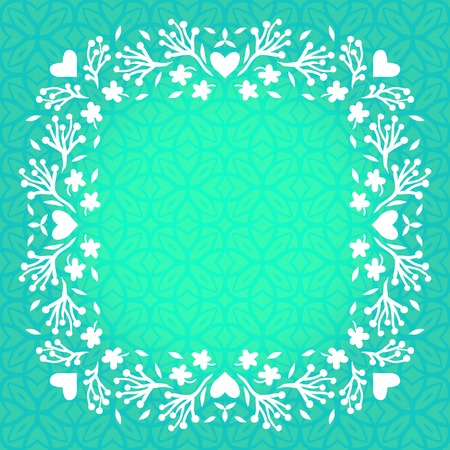 aqua flowers: Vector illustration of floral frame with small flowers, branches and hearts. Template with spring decor for wedding invitation, birthday card, summer garden party, floral shop gift card, soap package
