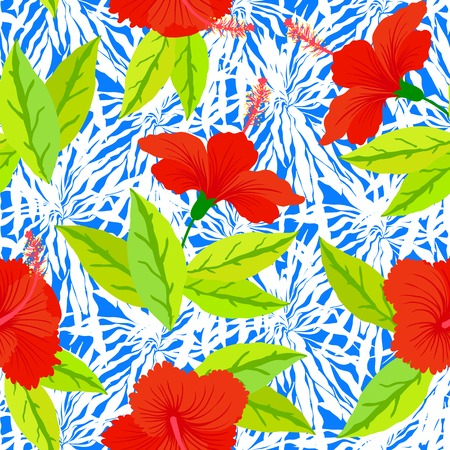 Seamless floral pattern inspired by leaves of tropical plants and nature