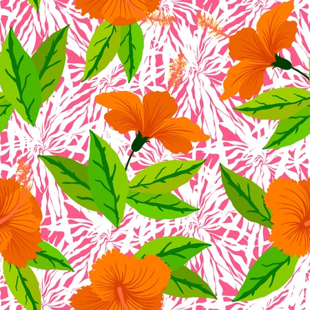 morning glory: Seamless floral pattern inspired by leaves of tropical plants and nature