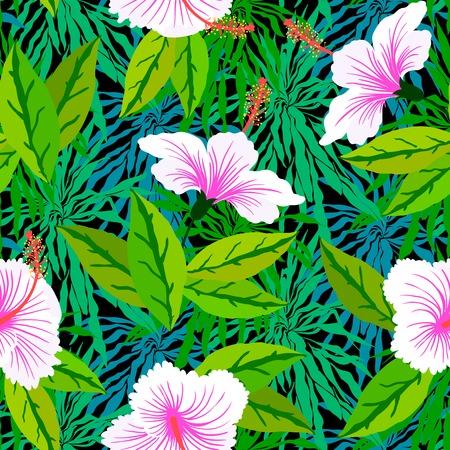 Naadloze: Naadloos bloemenpatroon geïnspireerd door bladeren van tropische planten en de natuur