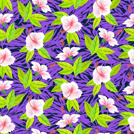 african fabric: Seamless floral pattern inspired by leaves of tropical plants and nature
