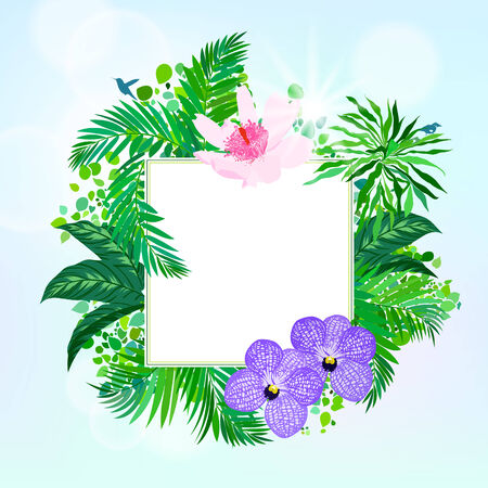 palm wreath: Seamless floral pattern inspired by leaves of tropical plants and nature