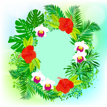 palm wreath: illustration of square card with tropical elements of decor