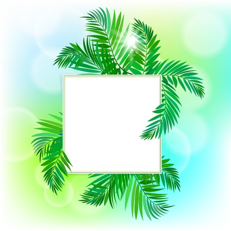 illustration of square card with tropical elements of decor