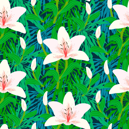 Vector seamless floral pattern with tropical decor like big white lily flowers on background of leaves, bushes, branches and jungle foliage Vettoriali