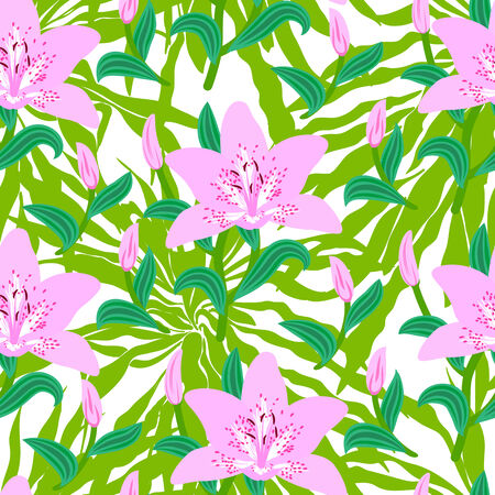 Vector seamless floral pattern with tropical decor: big pink lily flowers on background of leaves, bushes, branches and jungle foliage