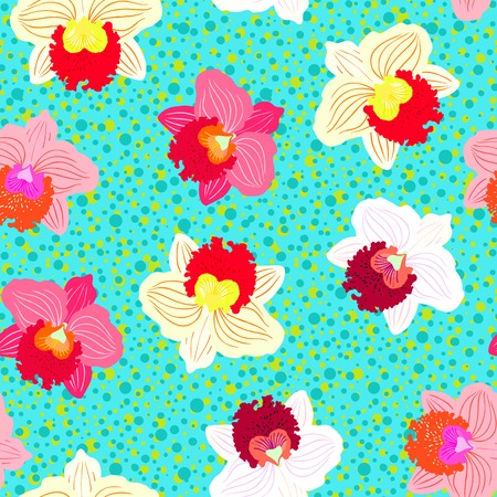 Floral seamless vector pattern with tropical decor and orchid flowers in bright variety of pink, red, white and yellow colors on aqua blue dotted background Illustration