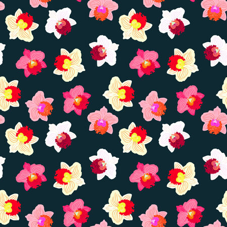 Floral seamless vector pattern with tropical decor and orchid flowers in bright variety of pink, red, white and yellow colors on dark background
