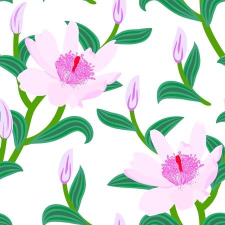 Floral seamless vector pattern with classic Chinese motifs and anemone flowers in soft pink color on white background Vector