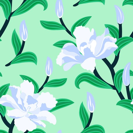 Floral seamless vector pattern with traditional Chinese motifs and peony flowers in soft blue and mint green colors Illustration