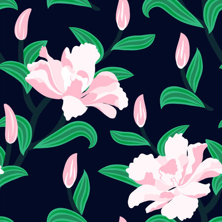 Floral seamless vector pattern with traditional Japanese motifs and peony flowers in soft pink and bright green colors on dark background