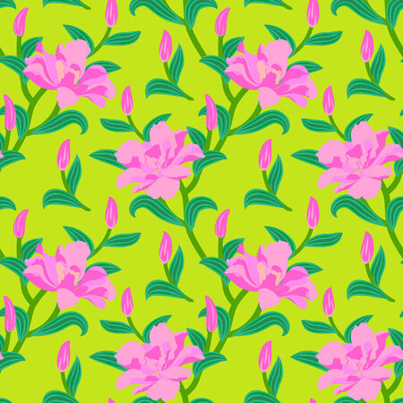 Floral seamless vector pattern with classic Japanese motifs and peony flowers in bright pink color on lime green background