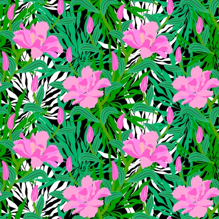 Vector seamless floral pattern with tropical decor: big pink flowers on background of palm leaves silhouettes, bushes, branches and jungle foliage Vector