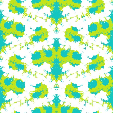 Vector seamless bold pattern with wide brushstrokes and waving stripes in bright lime green, aqua blue and white colors Illustration