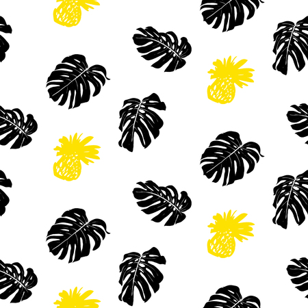 grunge pattern: Tropical grunge pattern with fruits and leafs