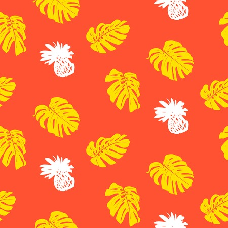 Tropical grunge pattern with fruits and leafs Vector